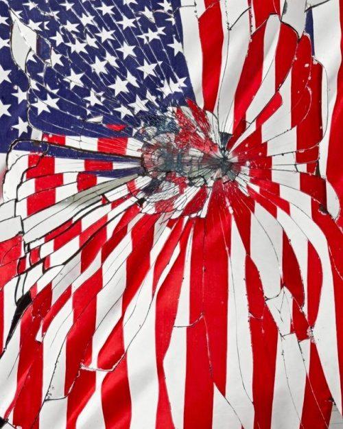Corey Olsen red flag USA mirror shattered