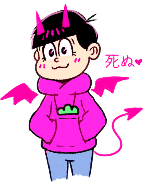 akiruruu:  tried to do something in 5 minutes and chose the easiest thing I could doa cute satan #todomatsu