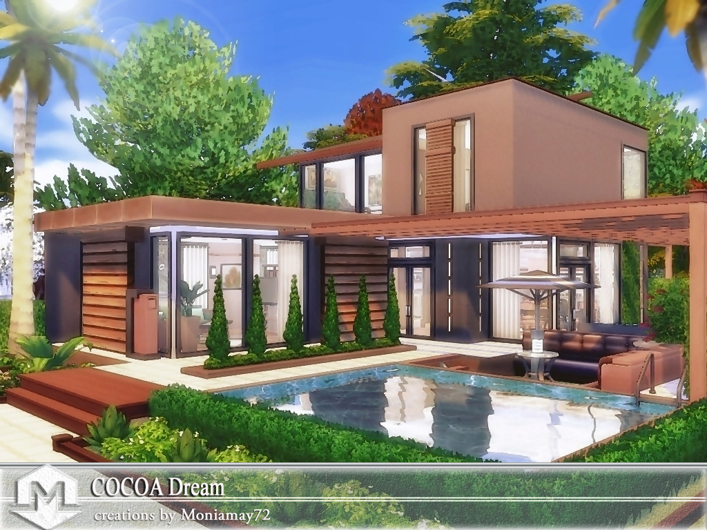Moniamay72 • sims 4 houses ♥ cocoa dream ♥ no cc modern house ♥ download