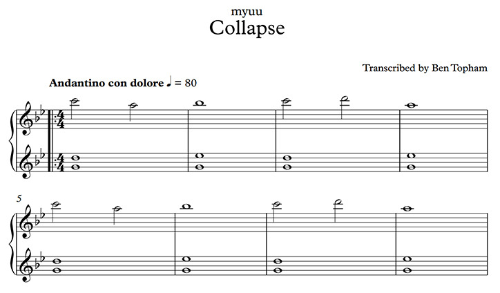 myuu — myuu - Collapse » Sheet Music + Tutorial Free PDF