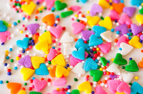 sprinkles hearts colorful bright vivid colors candy cake party fun silly happy photography