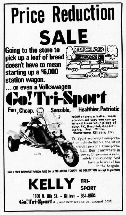 "Get yourself a Tri-Sport. It's ""Fun, Cheap, Sensible, Healthier, Patriotic."" (Fort…"