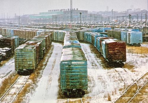 robertalanclayton:  Winter, Kansas City Rail yards, Kansas City MO, RA Clayton