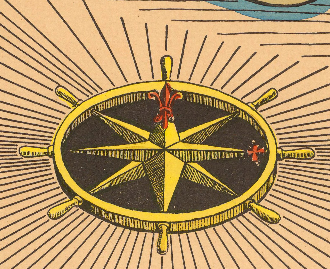 Points on a compass. Cape Cod. 1938. Pictorial map detail.  Rumsey