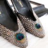 "Vintage Cameco 3"" heels with peacock feather vamp"