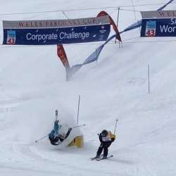 Tight finish at the #wfskicup benefitting the @thenscd Today! … I hope your nose is ok @pkrustb … way to time out like a champion! (at Winter Park, Colorado)