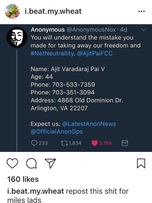 net neutrality fcc go fcc yourself net nootrality ajit pai anonymous save the Internet stop the fcc mine HA THATS WHAT HE GETS