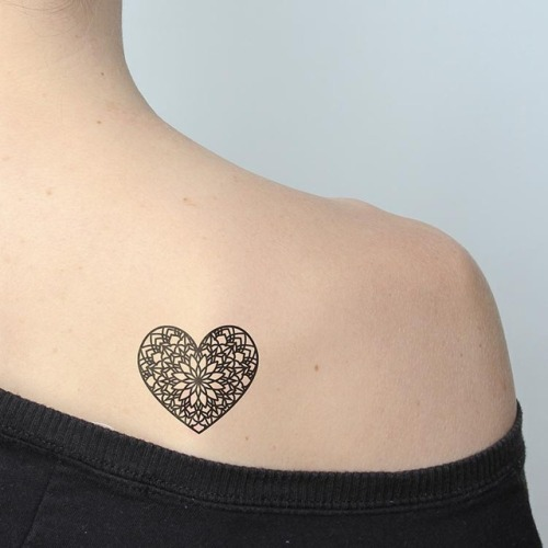 Heart shaped mandala temporary tattoo, get it here ►... heart;ornamental;mandala;love;temporary;sacred geometry