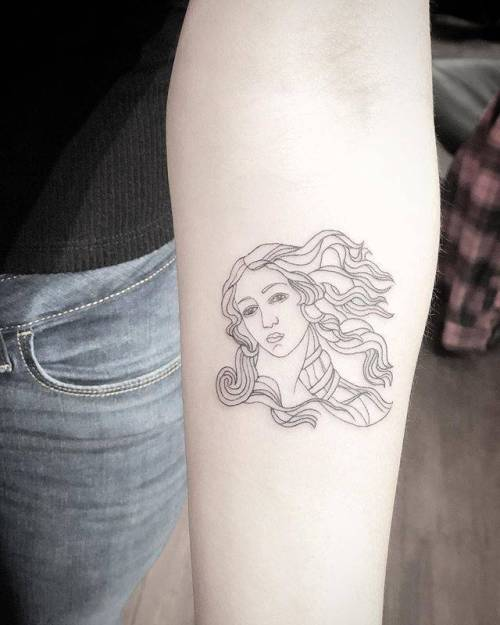 By MJ, done at West 4 Tattoo, Manhattan. http://ttoo.co/p/147935 mj;art;small;the birth of venus;contemporary;tiny;ifttt;little;location;sandro botticelli;inner forearm;medium size;italy;europe;fine line;patriotic;line art