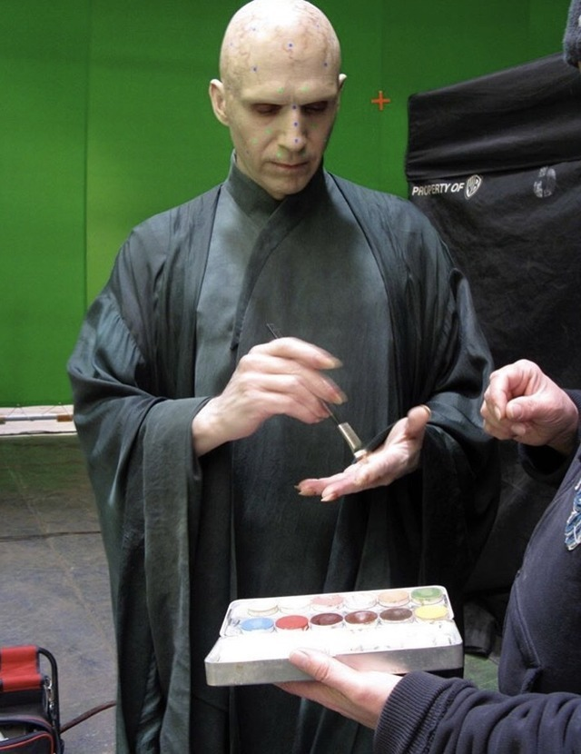 Ralph Fiennes — Voldemort testing some of the makeup on ...