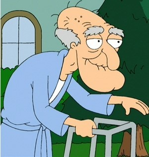 """Character """"Herbert the Pervert"""" from """"Family Guy,"""" pictured in his bathrobe, with his walker."""