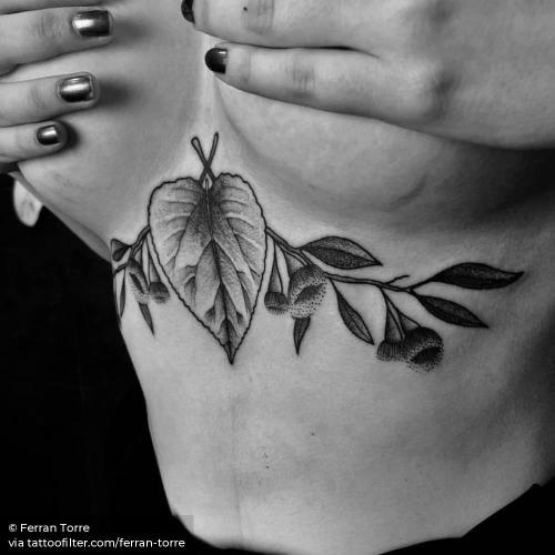 By Ferran Torre, done in Barcelona. http://ttoo.co/p/35081 big;facebook;ferran torre;illustrative;leaf;line art;nature;twitter;under boob