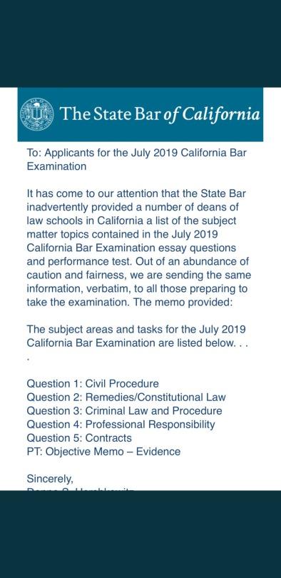 12(b)(6) — California State Bar releases essay topics 48