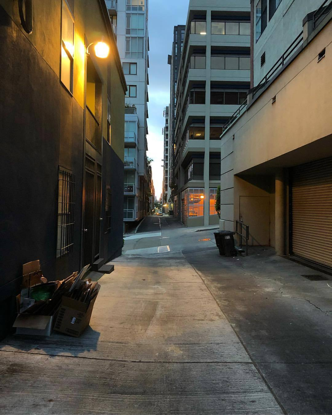 "I snapped this pic in the alleyway behind @killerworkoutmusic's practice space in Belltown last night. We shot part of our music video for ""Sister"" here. It certainly has a strange beauty. It's mostly concrete and grime, but, far in the distance, you can almost see the sound. Hope you can make it to our upcoming show Saturday, May 26 at @thesunsettavern. 🔪🏋️‍♀️ (at Seattle, Washington)"