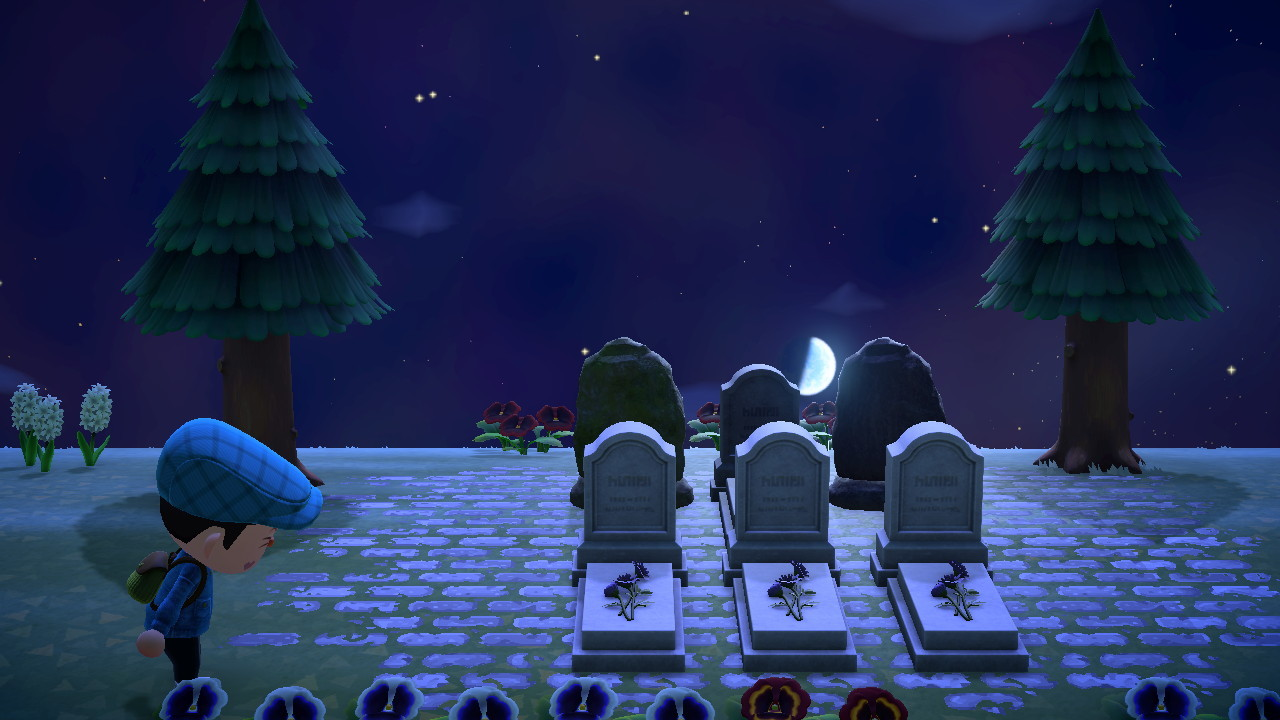 ive decided to make a graveyard on top of the mountain i originally placed it next to blanches house but i think thats kinda mean and uncharacteristic of her to live next to a graveyard im going to send derwin here #animal crossing #animal crossing new horizons #graveyard