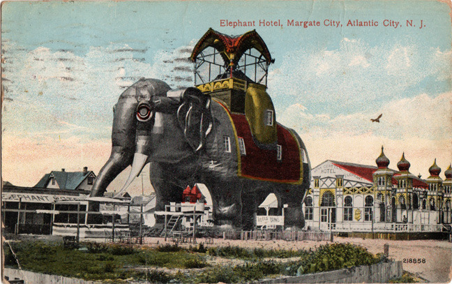 """""""Some burgh. Mary.""""Atlantic City, New JerseyPostmarked 1914 #postcard#postal#collectable#antique#stamp#philatelic#lithography#mail#vacation#travel#holiday#atlantic#city#elephant#hotel#margate#kitsch#roadside#america#USA#new#jersey#NJ"""