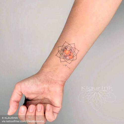 By KLAURINK, done in Escazú. http://ttoo.co/p/34405 animal;claudiaosorio;facebook;fox;illustrative;inner forearm;mandala;small;of sacred geometry shapes;twitter