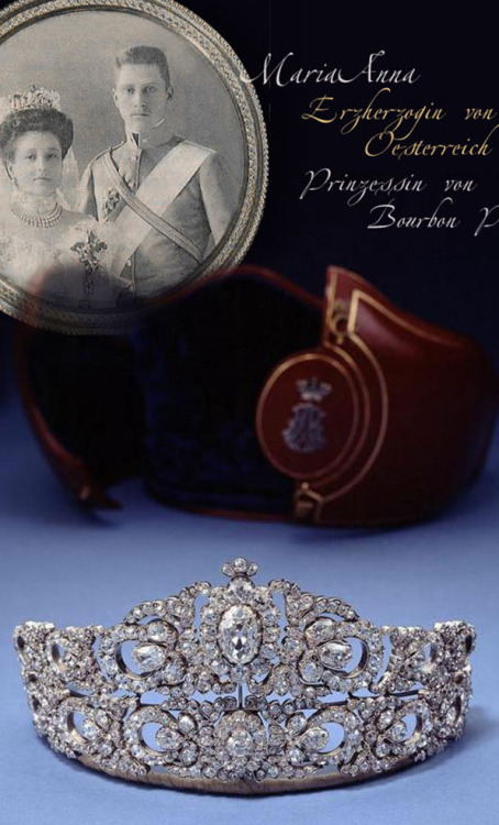 tiarascrowns:Tiara of Princess Maria Anna of Austria and Bourbon-Parma. http://www.royal-magazin.de/austria/mariaAnna-austria-bourbon-tiara.htm Wedding Tiara of Maria Anna, Princess of Bourbon Parma