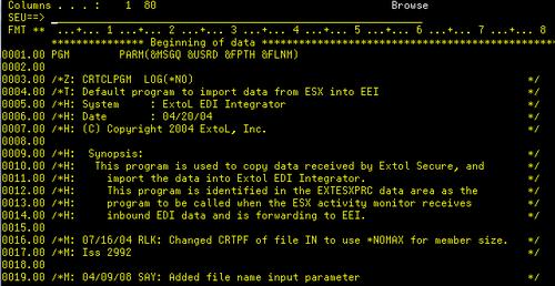EXTOL CLP: RCVESXDTA for EXTOL Secure Exchange (ESX)