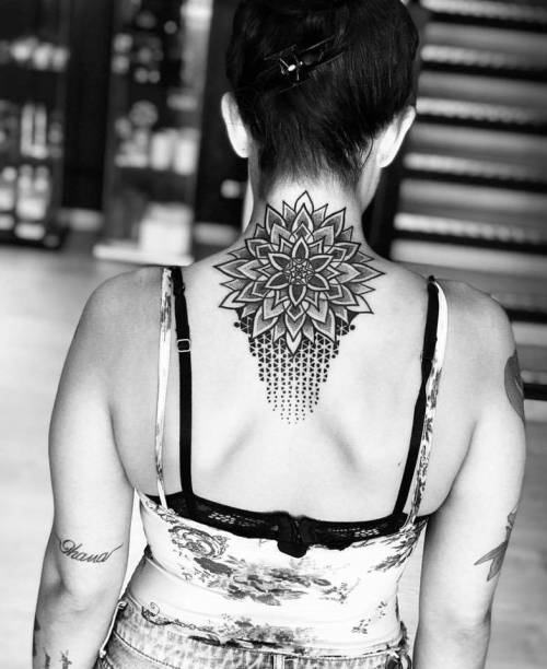 By Nico Valencia, done in Santa Lucía de Tirajana.... back of neck;big;dotwork;facebook;geometric;mandala;nicovalencia;op art;sacred geometry;of sacred geometry shapes;twitter;upper back