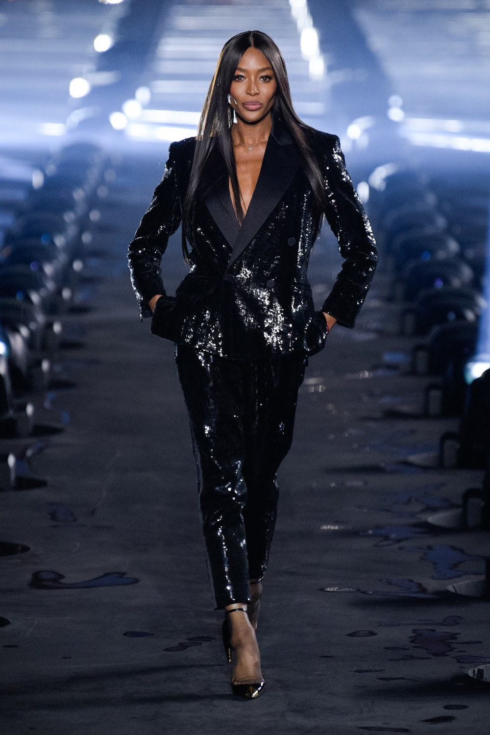 Naomi Campbell for Saint Laurent SS 2020 Ready-to-Wear.