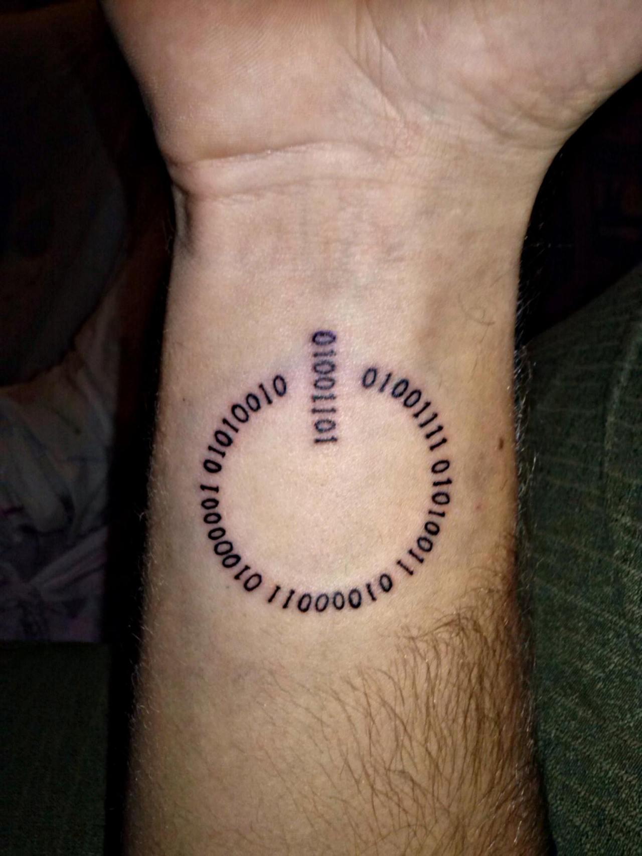 9ead2bde3e053 Fuck Yeah, Nerd Tattoos! — My third tattoo… Its my name in binary code..