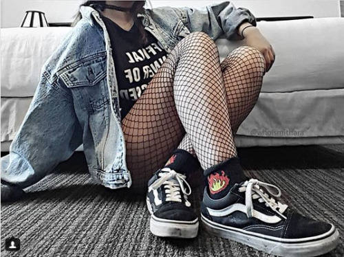 instagram whoismithara vans vans old school Black and White fishnet tights Denim Jacket jeans jacket asian style asian girl Asian fashion fashion cool cool style style style outfit cool girl outfit soft grunge hipster