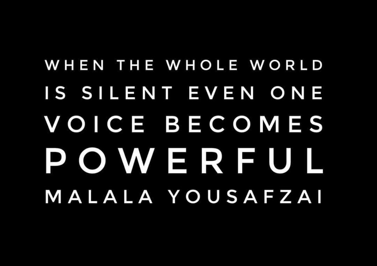 """The Ama Rose Book Club Words Of Wisdom """"When the whole world is silent even one voice becomes powerful"""". Malala Yousafzai @the_ama_rose_book_club #theamarosebookclub#malala yousafzai#wordsofwisdom#bookclub#power#powerful#quotes"""
