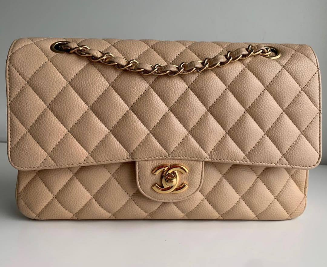 01be75664454 Available now !! one of the most stunning Beige Chanel's. . Chanel Caviar  Medium