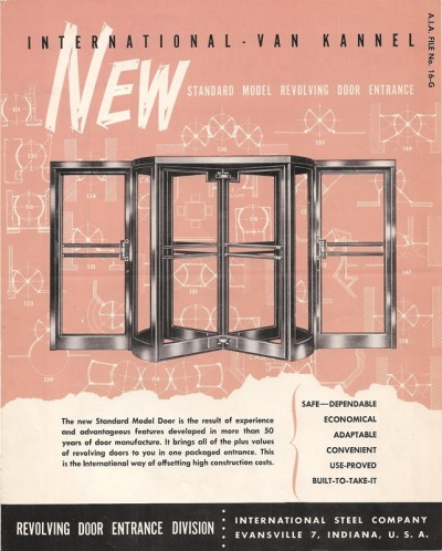 In theInternational Revolving Door Company's1952 catalog, the retro typefaces totally out-shine the products.