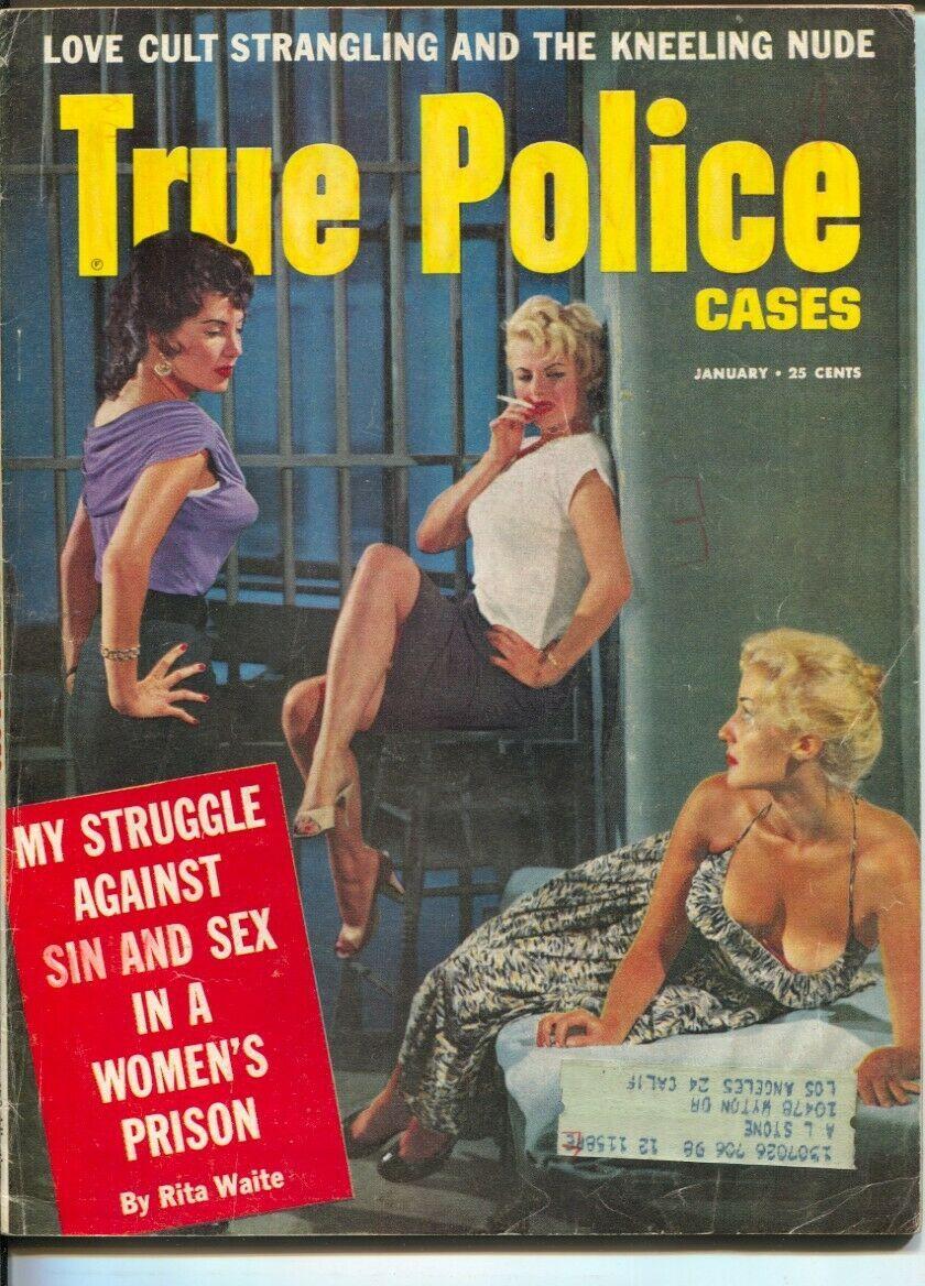 Vintage Magazine - True Police Stories (Jan1958) #Vintage#Art#Illustration#Design#Magazines#Pulp #True Police Stories #Crime#Women#Prison#Womens Prison#1958#1950s#50s