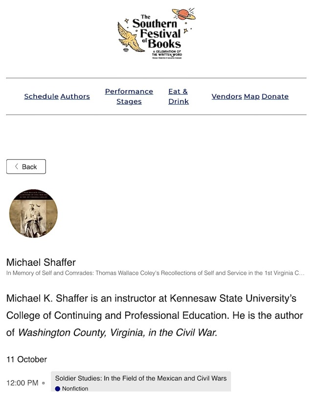 Southern Festival of Books this weekend in Nashville; I will speak and then sign books on Friday at noon
