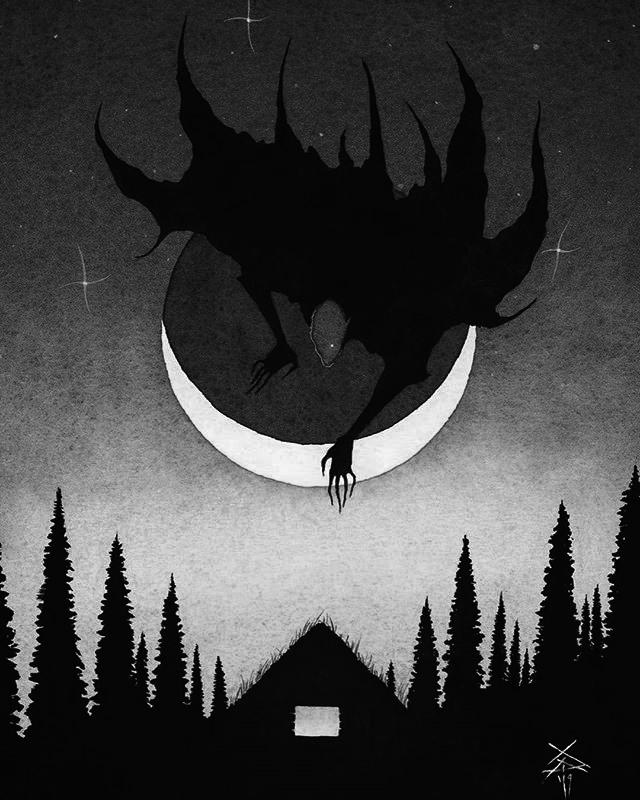 Art by Xavier Ortiz (my edits) #demons#devil demon#night#moon#dark art#dark#darkness#devil#evil#b&w art#my edits#dark forest#Dark Aesthetic#b&w aesthetic#witch aesthetic