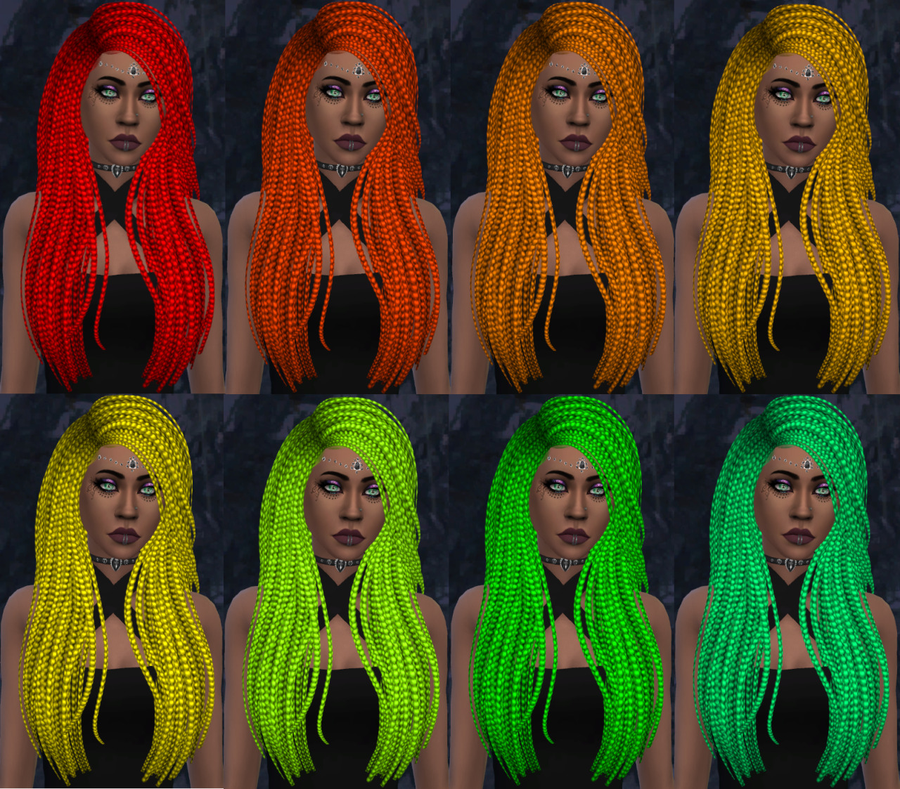 This is a recolor of Nightcrawler Sims Sparks hair. Since this is a recolor,MESH IS NOT INCLUDED !!!Which means you need to download the mesh (the original creation from Nightcrawler sims) for this recolor to work!You can find the mesh on The sims resource HERE This recolor has 19 Different swatches/colors It is recommended to make sure laptop mode is OFF and settings are HIGH in game to make this recolor look this great in game Again, don't forget to download the MESH Huge thanks to Nightcrawler Sims for making this super cool hair, and for allowing recolors of it :) Download link to my recolor (Via Simfileshare) HERE #ts4 #the sims 4 #sims 4#sims#cc#custom content#ts4 cc #ts4 custom content #ts4 recolor#cc recolor#ad free#cc adfree#cc simfileshare#simfileshare#colorful cc#ts4 hair#intense colors#recolor hair