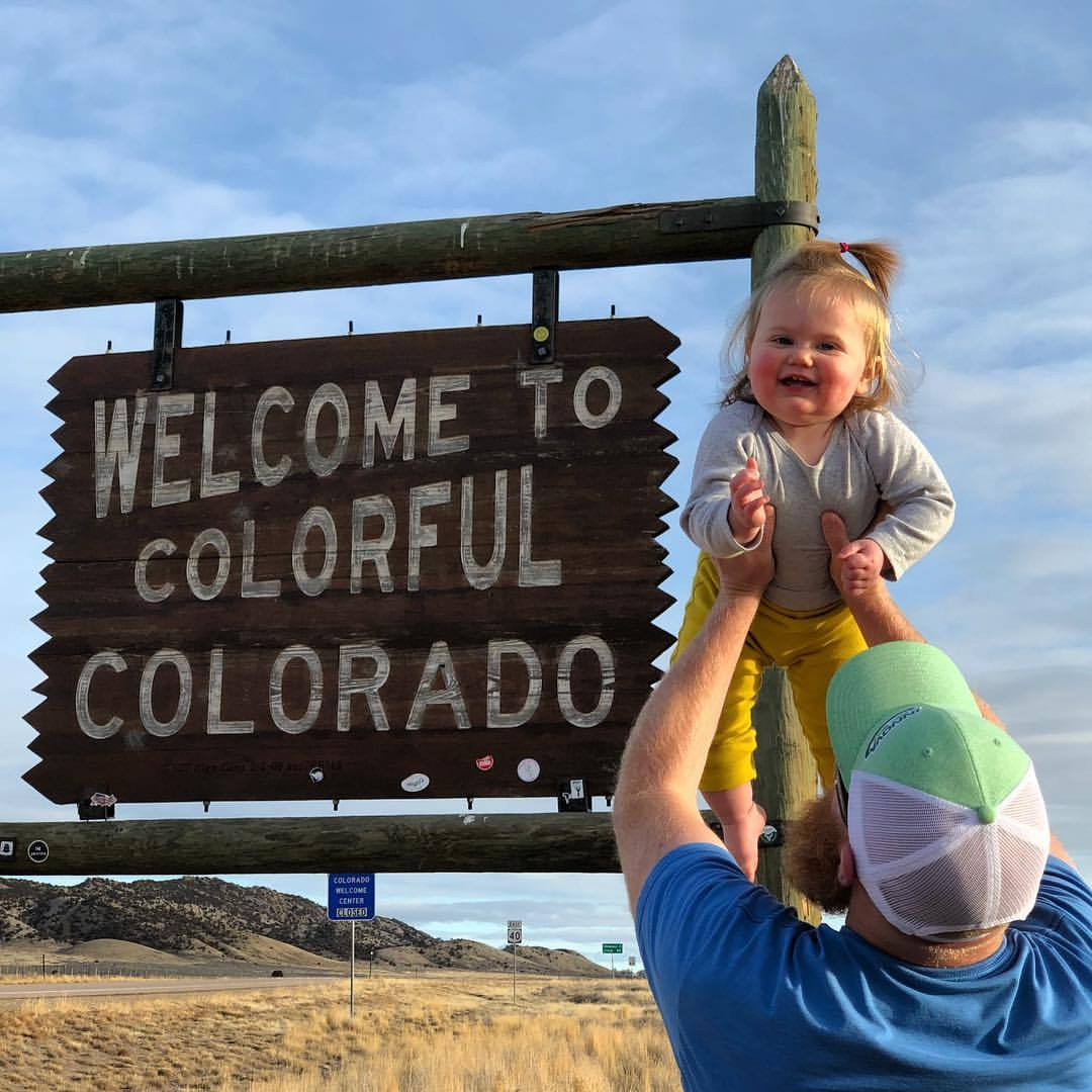 "State Line! This is me about to have the ""No Vacancy"" sign on Colorado … thanks for the trip dad. (at Colorado)"