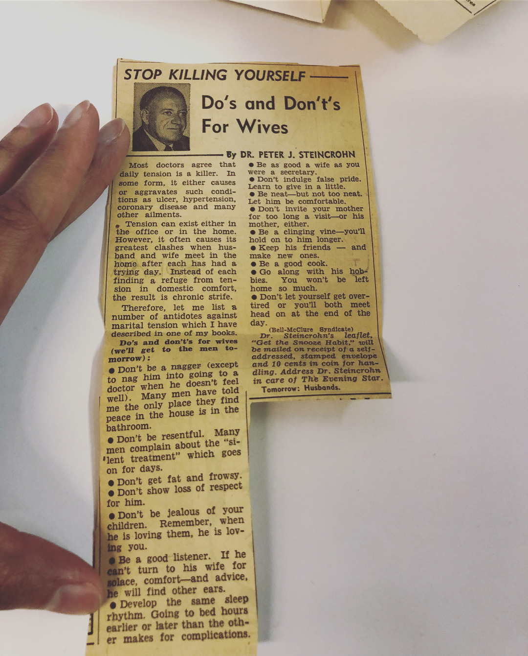 """Those out there with wives or husbands and need advice …. I found these news clippings from the late '60s in one of my grandmother's trunks. Dr. Steincrohn has some gems. """"Listen to her business advice; then take it or leave it,"""" AND my favorite … """"Be as good a wife as you were a secretary."""" 😂😂😂😂 Also, if you have a husband that's gone off his rocker … Philip H. Love has something for that, too. Keep scrolling. I love finding things my grandparents left behind, clues about how hard they tried to love each other. #@brownbookworm #brownbookworm#dhonielle clayton#instagram #dr. peter j. steincrohn  #dr peter j steincrohn  #peter j. steincrohn  #peter j steincrohn #newspaper clippings #philip h. love  #philip h love #advice#marriage"""