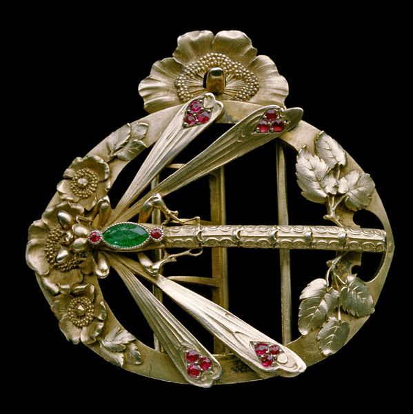 Dragonfly Buckle  Gilded silver, emerald & ruby Edmond Lhote French  c. 1904 #buckle#gilded#silver#emerald#ruby#Edmond Lhote#france#1900s#20th Century