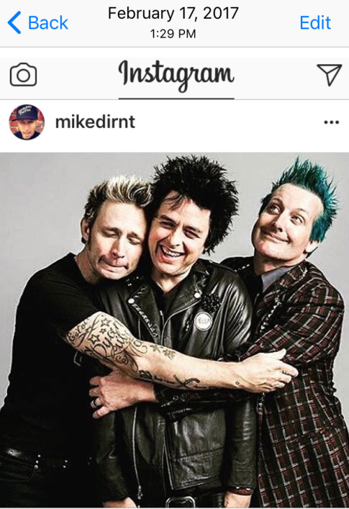 i guess they both like the pic green day Billie Joe Armstrong happy birthday billie joe february 17th mike dirnt tre cool& 039;s instagram