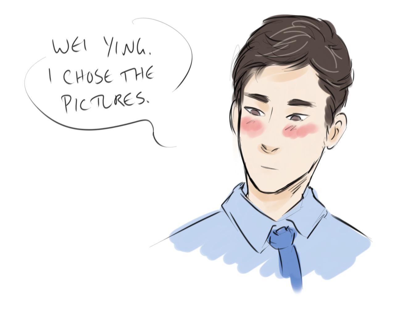Lan Wangji telling Wei Wuxian he chose the pictures