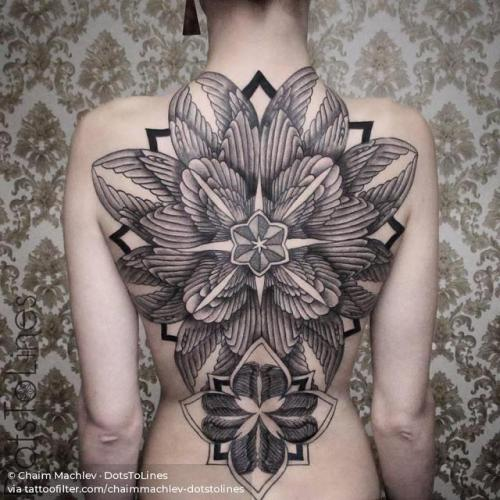 By Chaim Machlev · DotsToLines, done at DotsToLines, Berlin.... backpiece;wing;chaimmachlev dotstolines;of sacred geometry shapes;huge;mandala;facebook;twitter;sacred geometry;religious