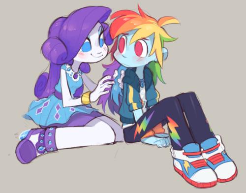 xenons art mlp equestria girls EqG raridash rainbow dash rarity