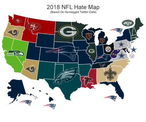 Most Hated Nfl Teams By Us State Maps On The Web - Us-map-nfl-teams