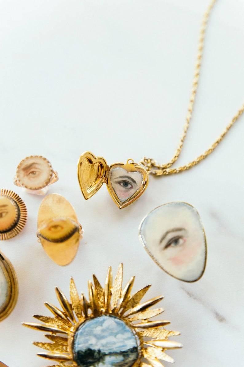 Eye Locket - MyLittleBelleville #mylittlebelleville#eye#locket#pendant#necklace#jewellery#jewelry#custom#personalised#customised#fashion#gold#heart