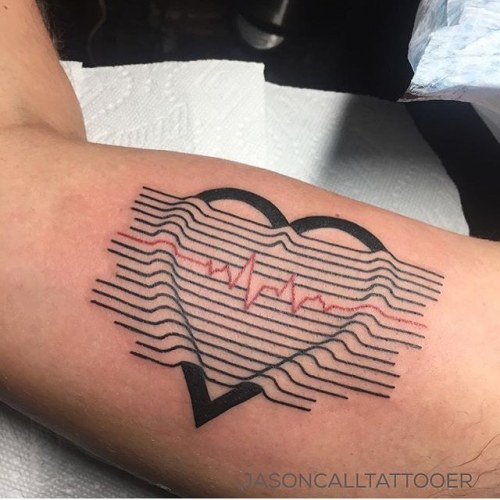Heart Tattoo  Artist: EQUILATTERA ▲ Private Tattoo Studio ▲ ❂... biceps;heart;heartbeat;arm