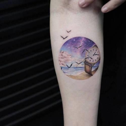 By Eva krbdk · Havva Karabudak, done at Bang Bang Tattoo,... geometric shape;small;circle;clock;tiny;landscape;ifttt;little;nature;beach;inner forearm;medium size;other;illustrative;evakrbdk
