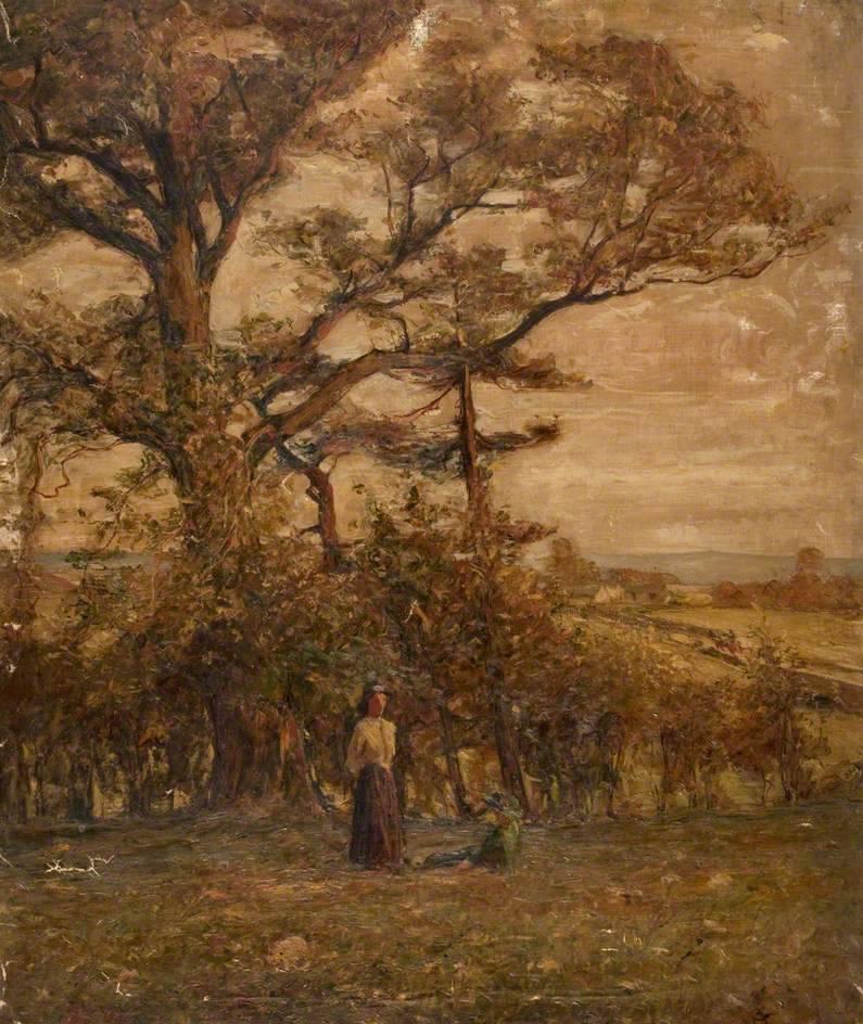 Centuriespast: Two Figures in a Field with TreesJohn Elliot Maguire(1866–1920)Giffnock …