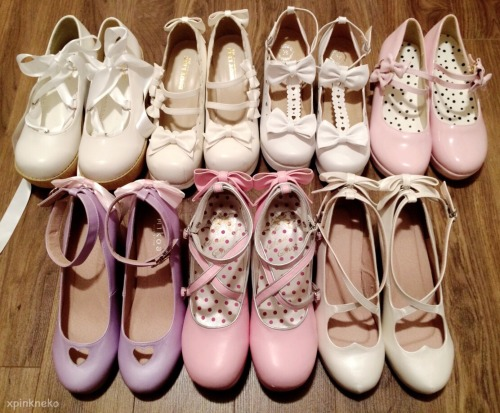 mine shoes cute shoes fashion pastel cute kawaii the purple and white one at the front are shimmery and really damn cute