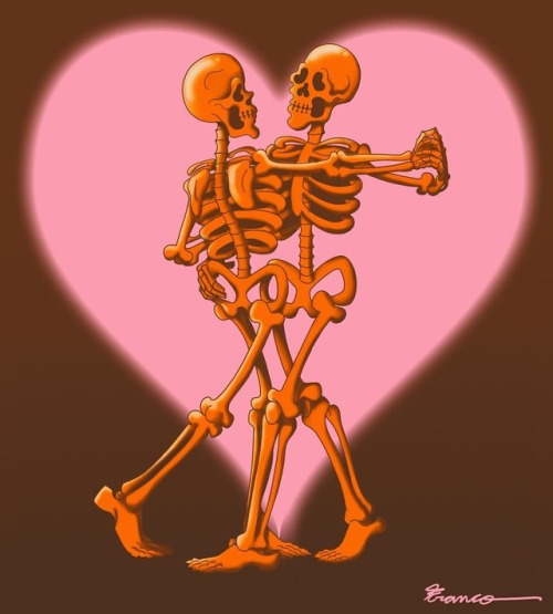 cartoon art illustration itsnicethat horror francoe halloween2018 couplegoals relationshipgoals halloween skeleton love animation popart bones spooky