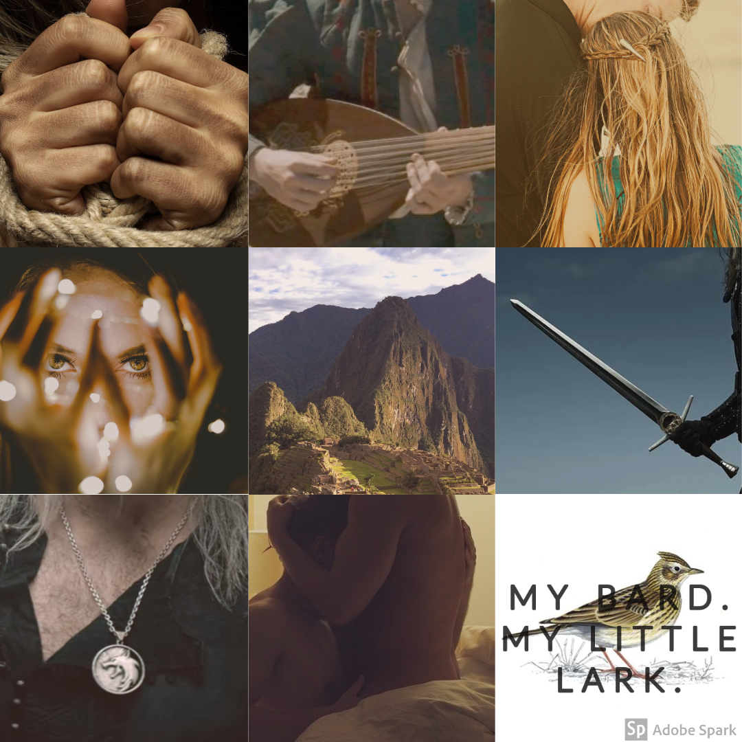 Mood board aesthetic by me @ciaimpala for With a Conquering Air, the first story in @inexplicifics incredible The Witcher AU Series, The Accidental Warlord and His Pack.   Jaskier arrives at Kaer Morhen knowing his family gave him up without a second thought, and absolutely sure that the dreaded Warlord of the North will value him even less than his own blood did. But the White Wolf and his pack are not what Jaskier expected…and if he's unreasonably lucky, Kaer Morhen might become far more of a home than Lettenhove ever was. #mood board#aesthetic#inexplicifics #the accidental warlord and his pack #fanart #geralt x jaskier #the witcher#au