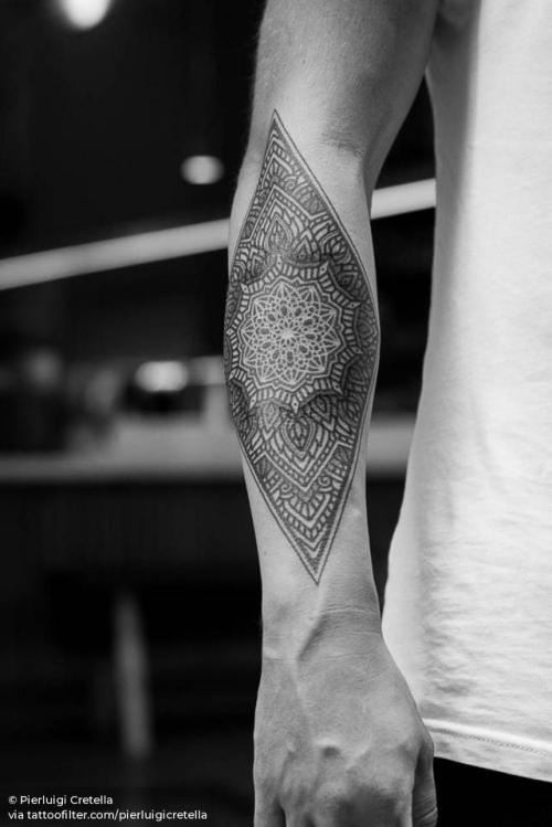 By Pierluigi Cretella, done at Meatshop Tattoo, Barcelona.... pierluigicretella;big;of sacred geometry shapes;ornamental;mandala;facebook;blackwork;forearm;twitter;sacred geometry;other